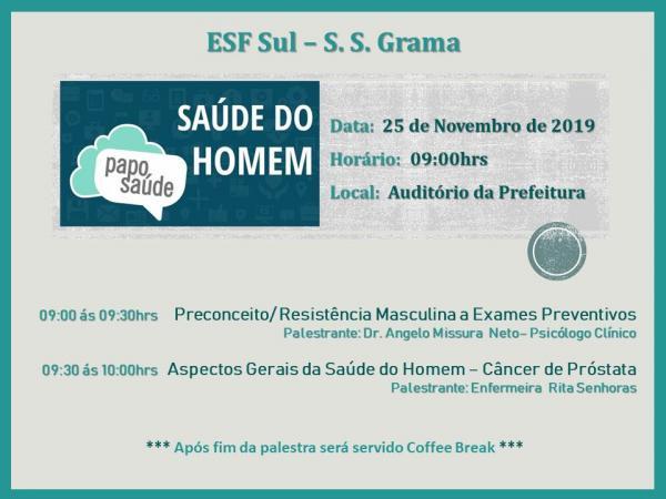 A unidade ESF SUL de Grama realizará palestra de Saúde do Homem no dia 25 de novembro