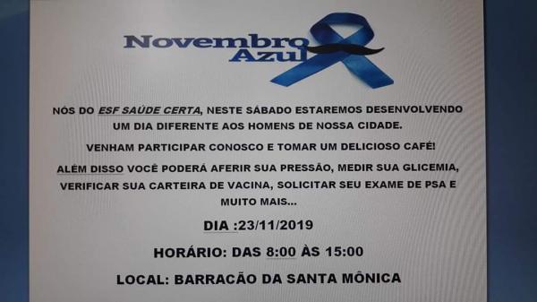 ESF Saúde Certa realizará uma ação ao atendimento a Saúde do Homem neste  sábado, 23 de novembro