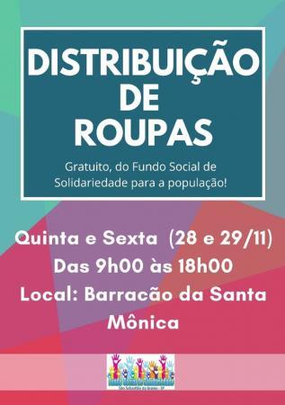 Fundo Social de Grama  distribuirá roupas nesta quinta-feira,28 e sexta-feira,29