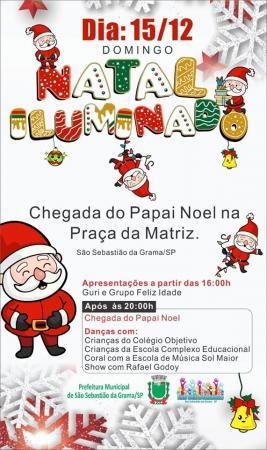 O Papai Noel chegará em S.S. da Grama nesse domingo (15) na Praça  da Matriz