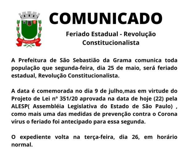 Informativo sobre o feriado antecipado, 25 de maio no município