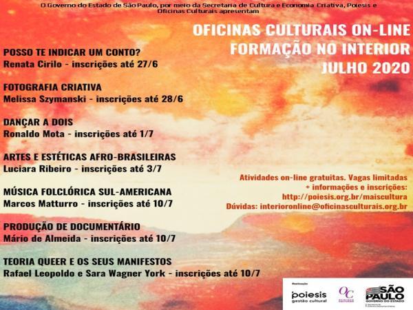Divulgação de Oficinas On-line gratuitas realizadas pela POIESIS em parceria com o Governo do Estado de São Paulo.