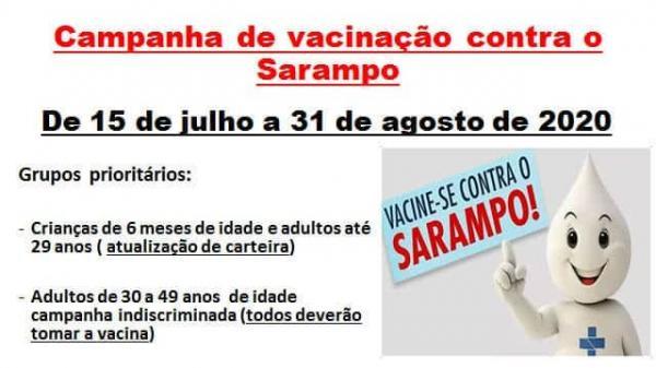 A Campanha de vacinação contra o Sarampo já iniciou no município