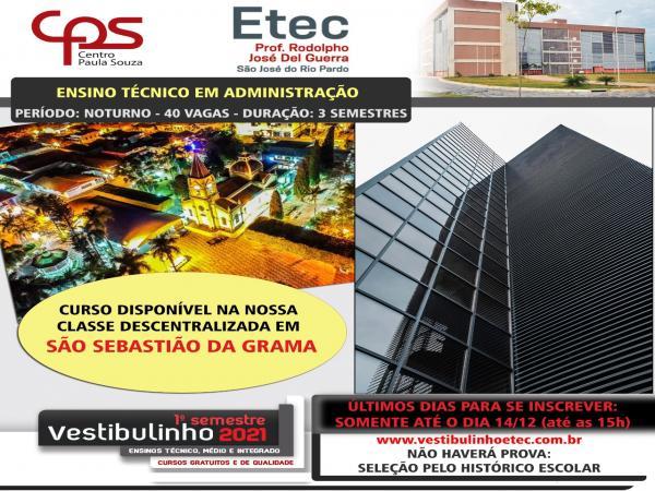 Inscrição aberta para o curso de ADM/ETEC em Grama