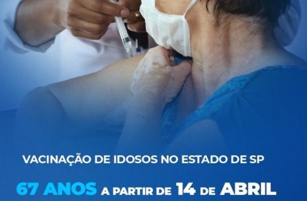 Dia 14 começa vacinação para 67 anos